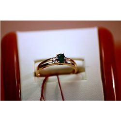 #136 - Fancy Ladys 14K Columbian Emerald Ring