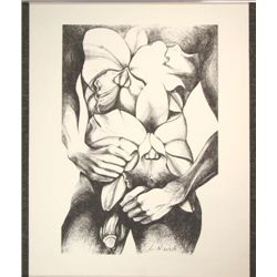 Rare Male Nude Signed Art Print Lowell Nesbitt