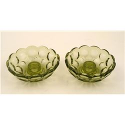 2 Fenton Glass Green Cabbage Rose Candle Stick Holders