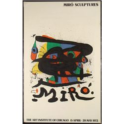 Miro Sculptures Exhibit Art Institute 1972 Poster Print