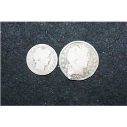 1905 Barber Quarter & 1899 Barber Half Dollar; Low Grade