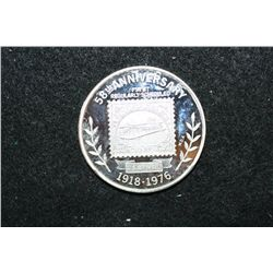 1976 US Postmaster 58th Anniversary First Regulatory Scheduled US Air Mail Silver Round; .999 Fine S