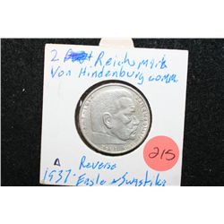 1937-A German 2 Reichsmark Foreign Coin W/Flying Eagle Holding Swatstika