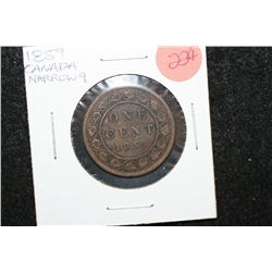 1859 Canada One Cent; Narrow 9