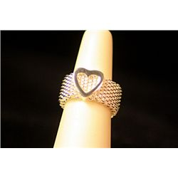 Lady's Unique Style Sterling Silver  Mesh &amp; Heart  Design Tiffany Ring