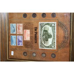 Framed Mercury Dime  The Pioneers ; Various Dates W/Postal Stamps Commerating Kansas Territorial Cen