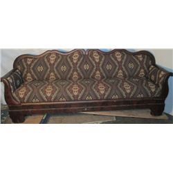 Antique Hard Wood Re-upholstered Couch