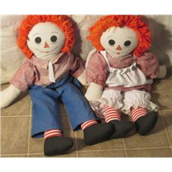Raggedy Anne & Andy Dolls About 100yrs Old