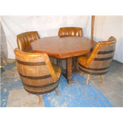 Octagon Wood Table  With 4 Barrel Chairs