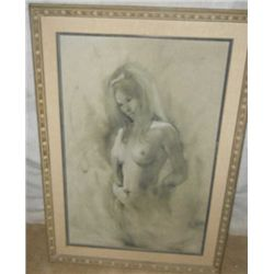 Wood Framed & Matted Charcoal On Canvas
