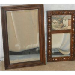 Small Wood Carved Farm House Picture Mirror And