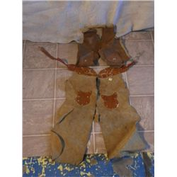 Hand Tooled Leather Child Chaps And Vest