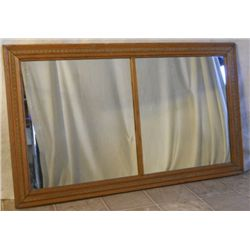 Wood Framed Long Mirror Seperated W/ Strip Of Wood