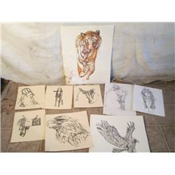 Western  Hand Drawn Pictures Of Saddles, Eagles,