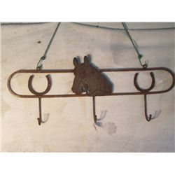 Iron, Tack Hanger With Horseshoes And Horse Design