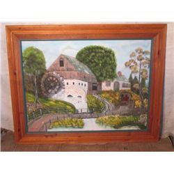 "60""x49"" Framed Oil Painting Of Water Wheel House"