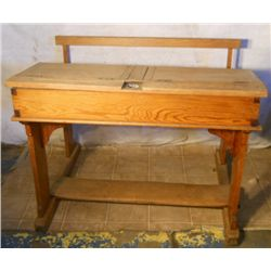 Antique Solid Wood School Desk Bench With