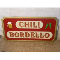 Chili Bordello Wood Sign