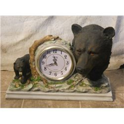 Cast Black Bear Mantle Clock