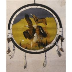 Lg. Dream Catcher Buffalo, Native American, & Wolf