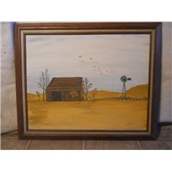Wood Framed Oil On Canvas Barn & Windmill