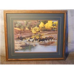 Wood Framed Young Cowboy Roundin Up Horses Print
