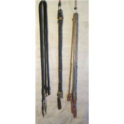 3 Riding Reins, 2 Braided Leather, 1 Nylon Rope