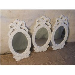 3 Matching White Framed Oval Mirrors