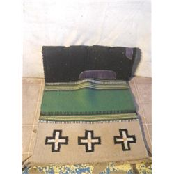 Black Saddle Pad. Flat Woven Saddle Blanket W/
