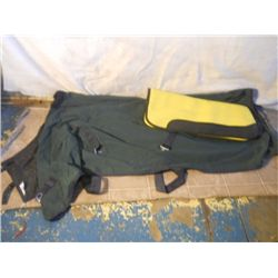 Green Stable Blanket With Yellow Thin Saddle Pad