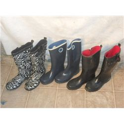 3 Pair Of Rubber Boots