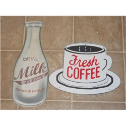 "Porcelain ''fresh Coffee"" Coffee Cup Sign, With"
