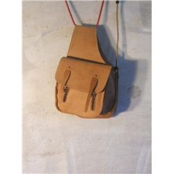 Leather Saddle Bag And Hide Wrapped Metal Stirrups