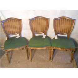 3 Green Fabric Bottomed Vintage Parlor Chairs