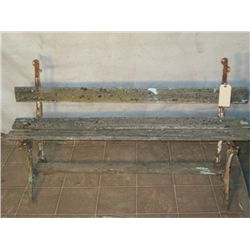 Antique Wood & Metal Bench