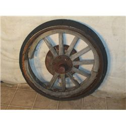 Antique Rubber And Wood Spoke Wheel