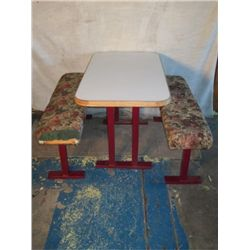 Restaurant Table With Floral Pattern Benches