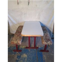 Restaurant  Table With Padded Floral Benches
