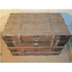 Antique Wooden Trunk With Wooden Inserts/divider