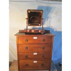 Antique 4 Drawer Oak Dresser With Swivel Mirror On