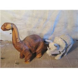 White Wood Triceratops& A Wood Carved Brontosaurus