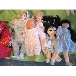 3 Plastic Baby Dolls And 3 Handmade Dolls