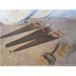 3 Antique Saws,  Hay Hooks, & Cowbell