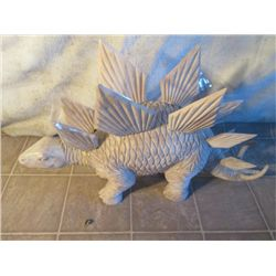 White Stegosaurus Hand Carved Out Of Wood