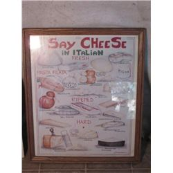 """say Cheese In Italian Fresh"" Wood Framed Poster"