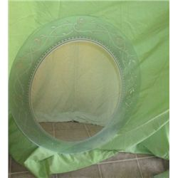 Frosted And Etched Oval Glass Mirror