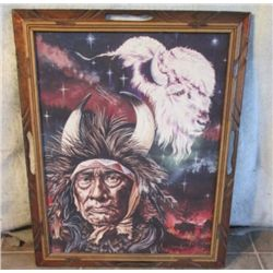 Wood Framed Indian Buffalo Picture W/ Carved Slots