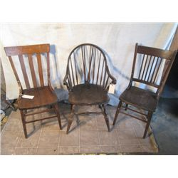 3 Antique Wooden  Chairs One Is A Captain