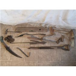 Antique Level, Hedgers, Hatchet, Loppers, Tree Saw