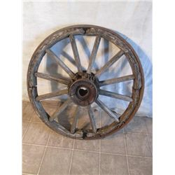 Antique Thick Cast Iron And Wooden Wagon Wheel